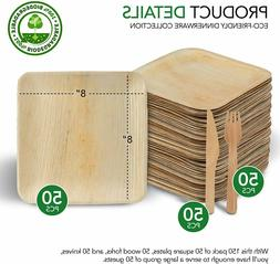 Bamboo Dinnerware 150 Pieces 50 Plates 50 Forks and 50 Knive