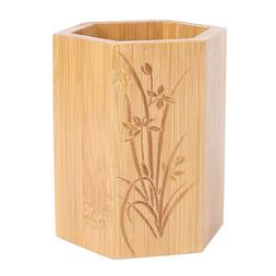 Bamboo Organizer Spoons Forks Ladles Container Divider Carve