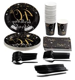 40th Birthday Party Supplies – Serves 24 – Includes Plas