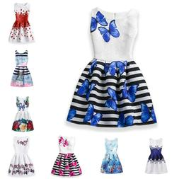Butterfly Floral Print Princess Teenagers Dress For Girls Pa