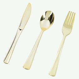 bulk wedding plastic flatware disposable gold cutlery