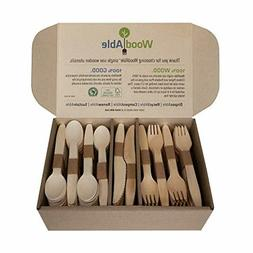Disposable Biodegradable 300 Count - 120 Forks, 120 Spoons,