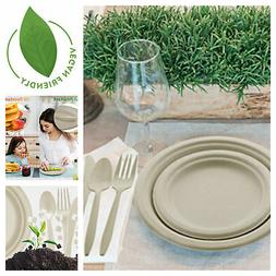 Disposable Biodegradable Tableware Set Eco-Friendly Plates F