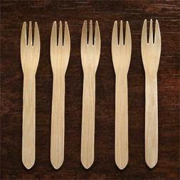 Disposable NATURAL BAMBOO FORKS Party Wedding Reception SILV