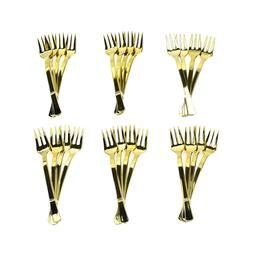 Disposable Party Cocktail Forks, Gold, 4-Inch, 24-Count