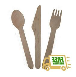 Disposable Wooden Cutlery Set - Forks, Spoons, Knives Compos