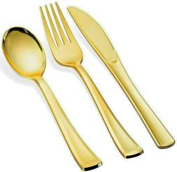 Gold Plastic Cutlery Set Disposable Heavy Duty Gold Spoons F