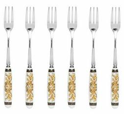Italian Collection 'Greek Key' 6-Pc White Demi Dessert Flatw