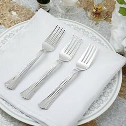Hard Plastic SILVER FORKS Disposable Silverware Catering Cut