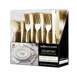 Heavy Duty 160 Pack Gold Cutlery - 80 Forks, 40 Knives, 40 S