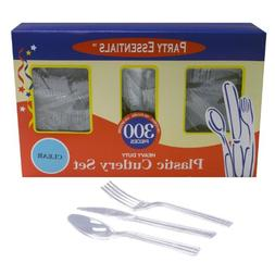 Party Essentials Heavy Duty Plastic Cutlery Box Set with Ful