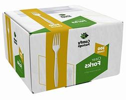 Heavyweight Disposable Clear Plastic Forks