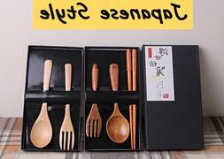 Japanese Style Vintage Wooden Chopsticks And Spoon Tableware