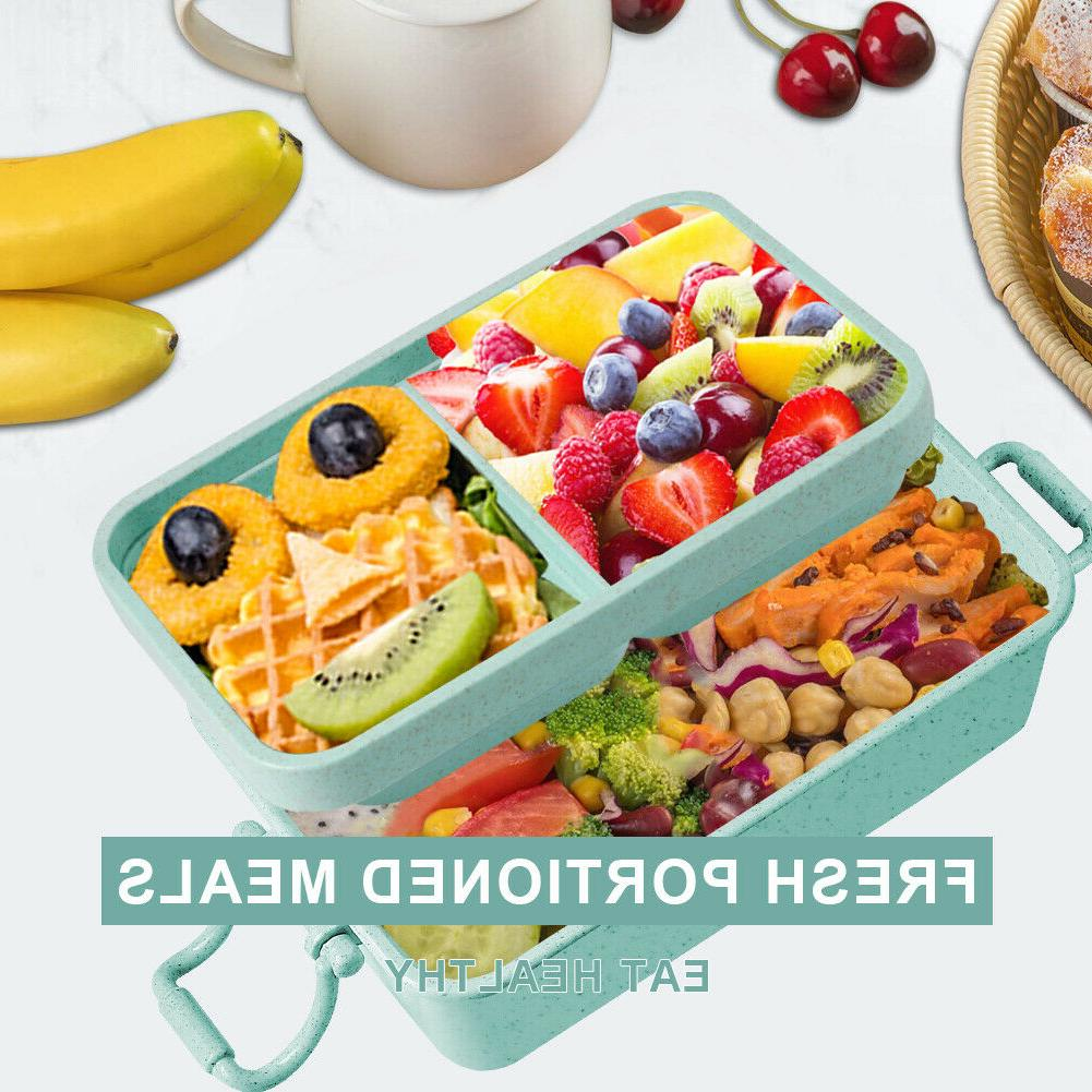 2 Layers Microwave Box Portable Bento Food Container W/Spoon Fork