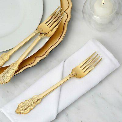24 pack metallic gold baroque disposable cutlery