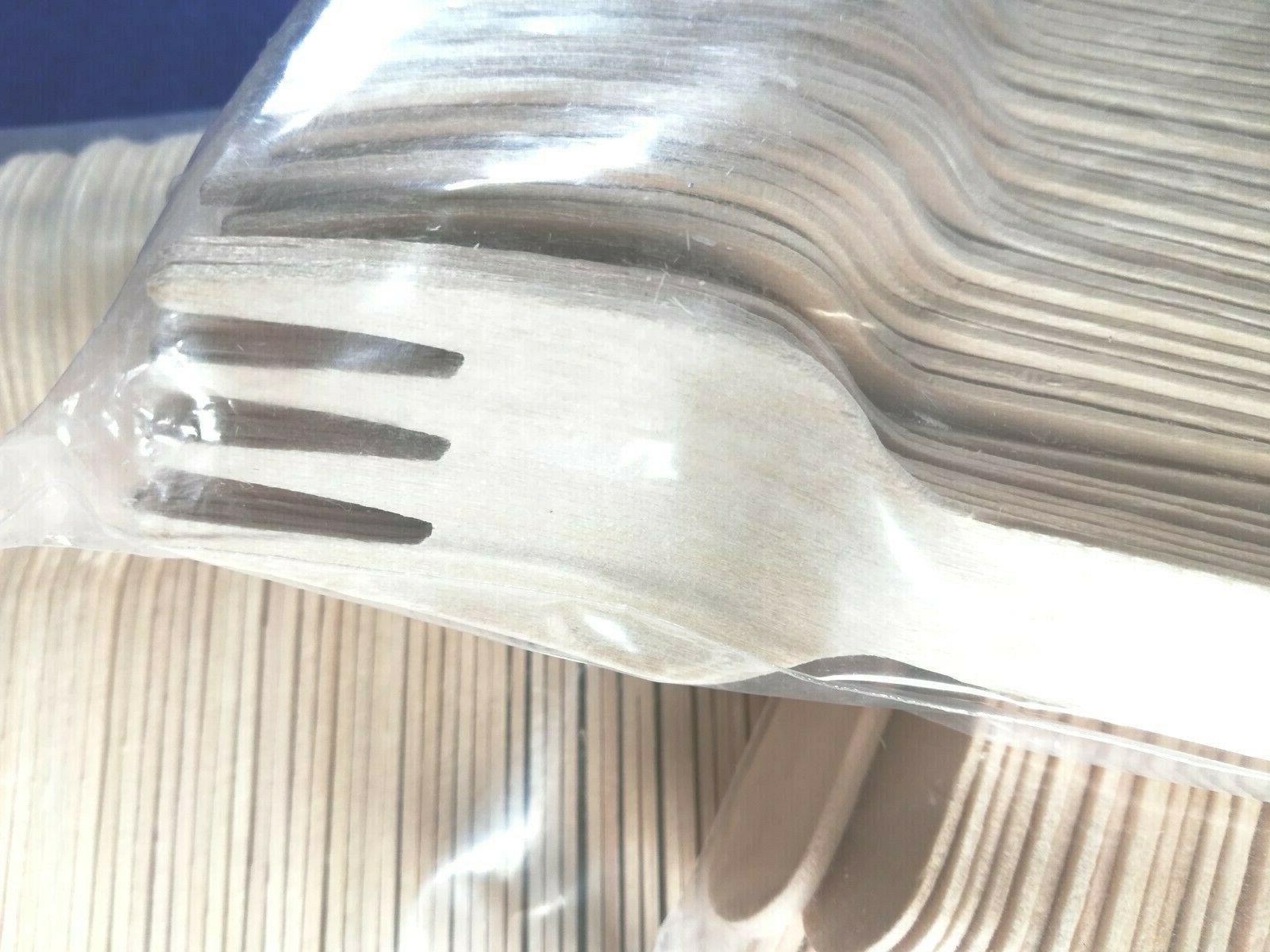 400 Wooden Cutlery Set Biodegradable Spoons,