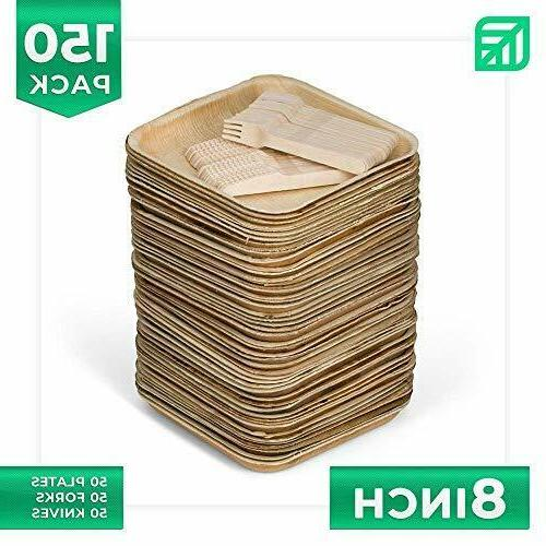 """50 8"""" Disposable Palm Plates + 100 Cutlery 50 8"""
