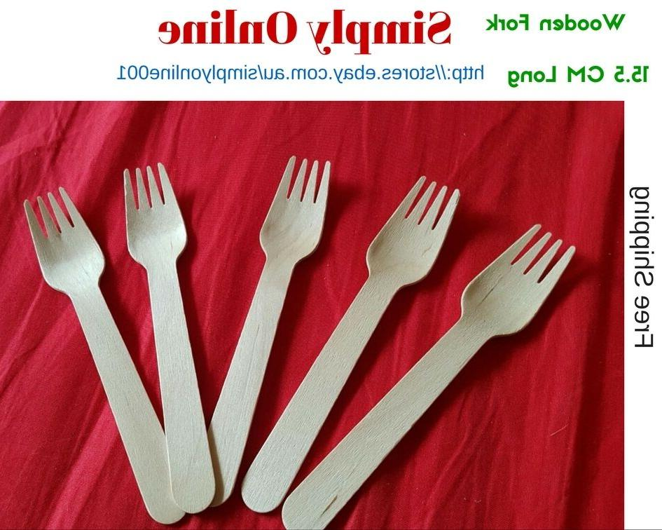 50 forks disposable party wooden cutlery pack