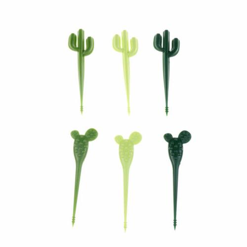 6pcs/pack Cactus Fruit Forks Dessert Toothpick Tableware ^P