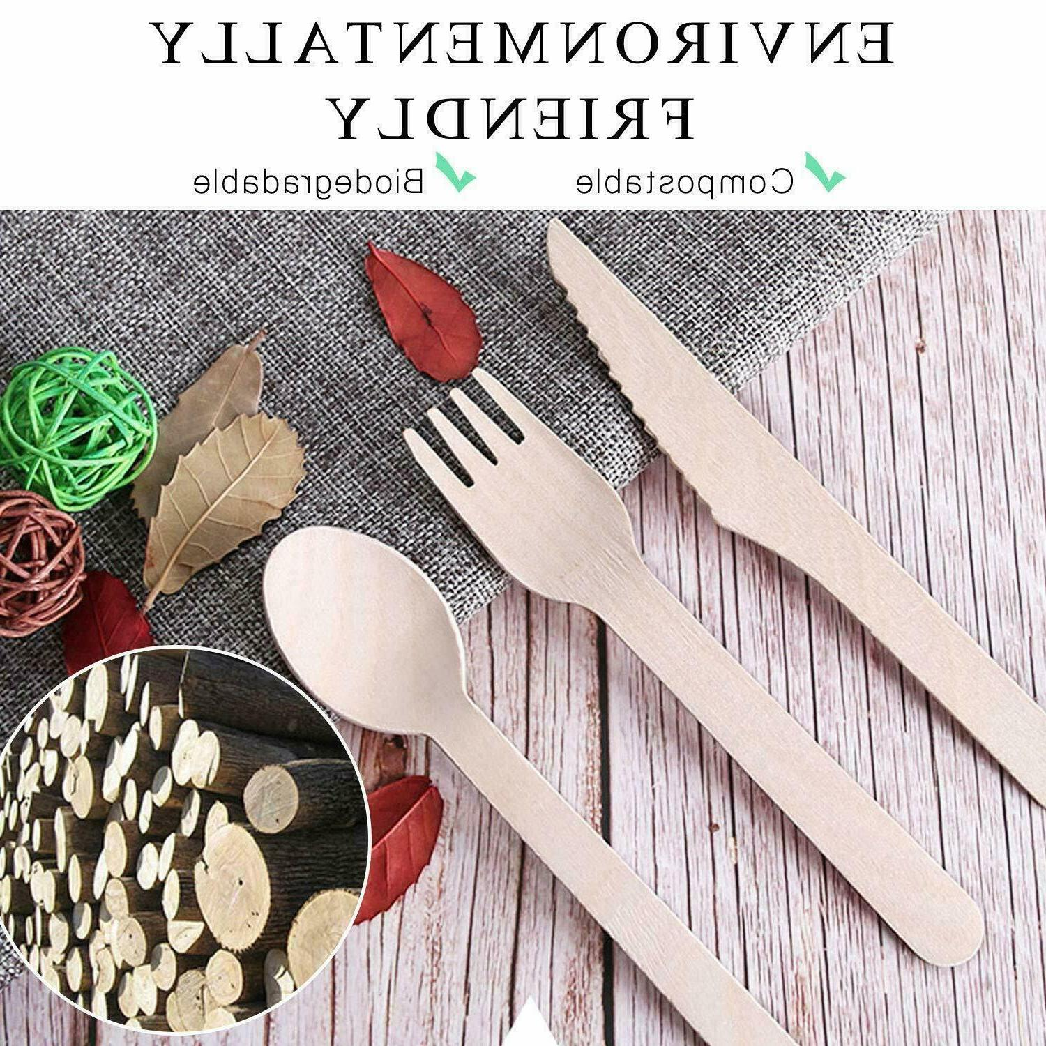 99 pieces wooden cutlery set 33 forks