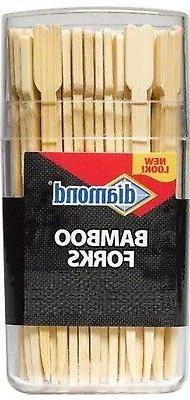 """Diamond BAMBOO FORKS 3.5"""" SKEWERS hors d'oeuvres party appet"""