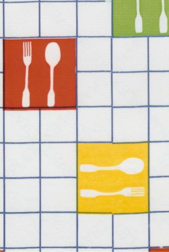 fabric picnic check forks white pattern sold