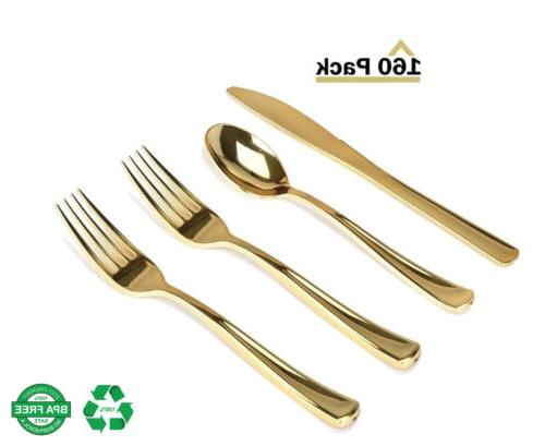 Heavy Pack Gold Cutlery - 80 Forks, 40 Knives, Spoons