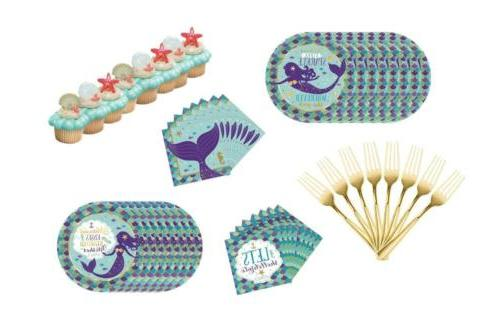 mermaid wishes party pack plates forks favor
