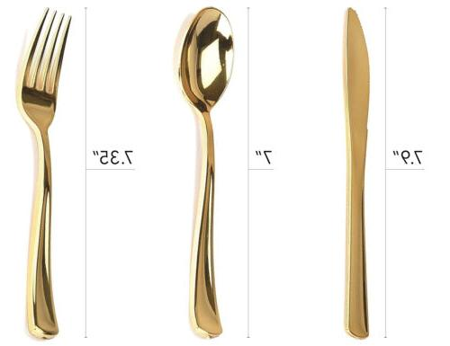 Heavy Duty Gold Forks, 40 Spoons