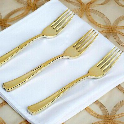 Plastic Gold KNIVES SET Wedding Party