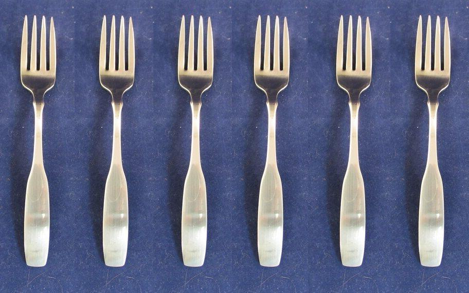 set of six stainless flatware paul revere