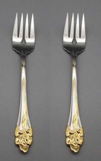 stainless golden amaryllis serving forks set of