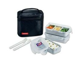 LockandLock Lunch Bag 3Piece Set with Spoon and Fork Black w
