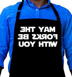 Funny Apron - May the Forks Be With You - Themed Apron For D