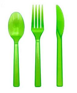 Neon Green Plastic Cutlery Set Fork Spoon Knives - 48pc Set
