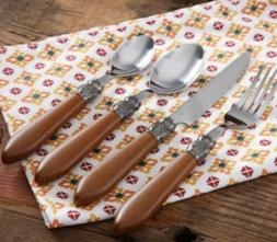 NEW! PIONEER WOMAN SINGLE COWGIRL LACE NATURAL WOOD FLATWARE