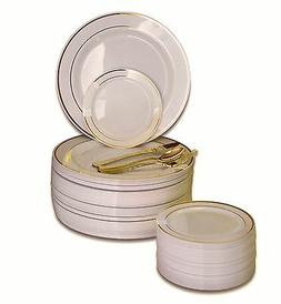 OCCASIONS Wedding Party Disposable Plastic Plates & Gold Sil