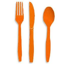 ORANGE  CUTLERY FORKS, KNIVES, SPOONS Party Supplies!! For A