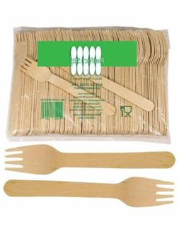 pack 250 wooden disposable cutlery forks 6