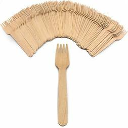"Pack of 150 Compostable Disposable 6.5"" Tan Wooden Forks"