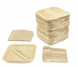"""Party Pack - 50 Disposable 8"""" Square Palm Leaf Plates, 50 Wo"""