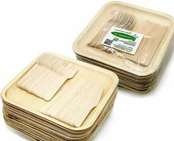 """Party Pack - 50 Large 10"""" Square Palm Leaf Plates, 50 Wood F"""