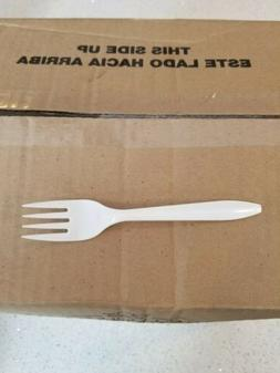 Plastic Forks 1000 PC White Medium Weight Brand New In Case