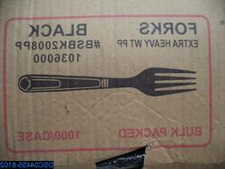 Qty= 1000: Black Plastic Forks Heavy Weight 1000 Each / Case