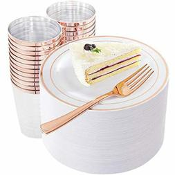 Rose Gold Dessert Plates with Rose Gold Disposable Forks and