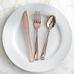 Rose Gold Metallic Forks Spoons and Knives sets - Disposable