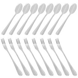 Set of 16 Demitasse Espresso Spoon and Stainless Steel Forks