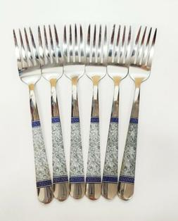 Set of 6PC Stainless Steel Dinner Forks With Floral Print 8""