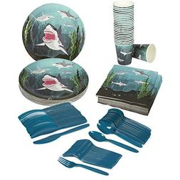Juvale Shark Party Supplies – Serves 24 – Includes Plate