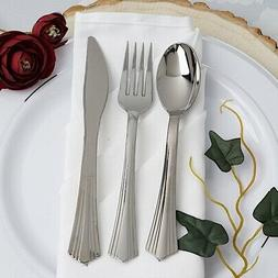 Silver Disposable Plastic Party Spoons, Forks, and Knives We